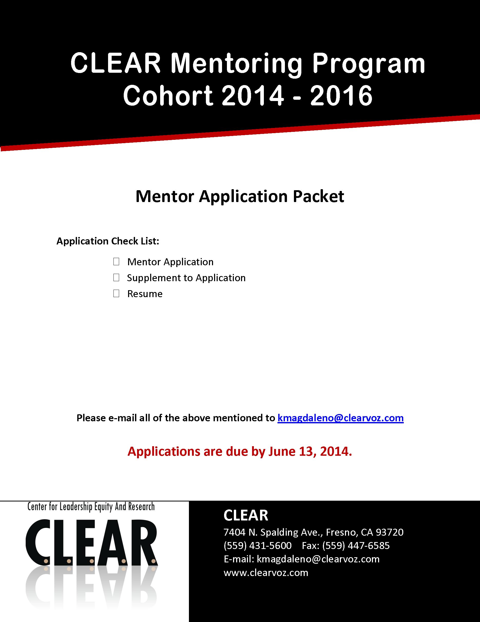 Mentor Application Cover